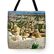 Dog Looking At Fairy Chimneys In Cappadocia-turkey Tote Bag