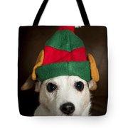 Dog Wearing Elf Ears, Christmas Portrait Tote Bag