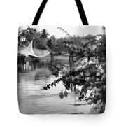 Ducks And Flowers In Lagoon Water Tote Bag