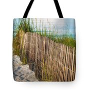 Dune Fence On Beach  Tote Bag