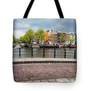 Dutch Houses By The Amstel River In Amsterdam Tote Bag