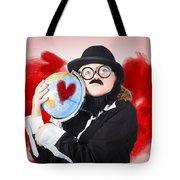 Eccentric Man Showing World Love By Cuddling Globe Tote Bag