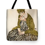 Edith With Striped Dress Sitting Tote Bag