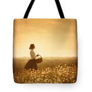 Edwardian Woman In A Meadow At Sunset Tote Bag