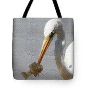 Egret Eats Fish Tote Bag