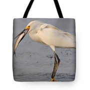 Egret With Fish Tote Bag