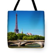 Eiffel Tower And Bridge On Seine River In Paris France Tote Bag