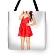 Elegant Woman Full Body Portrait Isolated On White Tote Bag