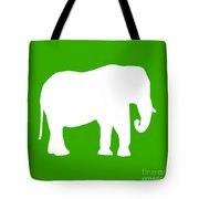 Elephant In Green And White Tote Bag