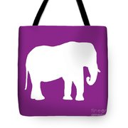 Elephant In Purple And White Tote Bag