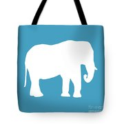 Elephant In White And Turquoise Tote Bag