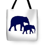 Elephants In Navy And White Tote Bag
