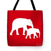 Elephants In Red And White Tote Bag