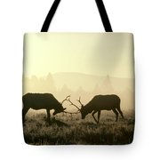 Elks Sparring Yellowstone Np Wyoming Tote Bag