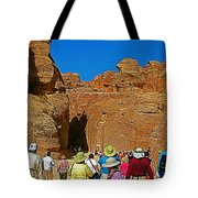 Entering Mile-long And 600 Foot High Gorge Leading To Treasury In Petra-jordan  Tote Bag