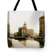 Erie Canal On Salina Street In Syracuse New York - Circa 1904 Tote Bag