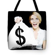 Euphoric Business Woman Holding Unexpected Windfall Tote Bag
