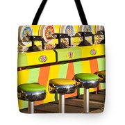 Evergreen State Fair Midway Game With Coloful Stools And Squirt  Tote Bag