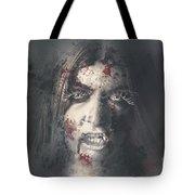 Evil Dead Vampire Woman Looking In Bloody Window Tote Bag