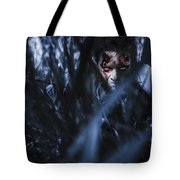 Evil Man Hiding In Silence At Dark Forest  Tote Bag