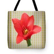 Exotic Red Tulip In Bold And Two Border Patterns Tiny Sparkle Parallal Horizontal Strips Summer Flow Tote Bag