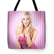 Fantastic Blond Pinup Girl With Surprised Look Tote Bag