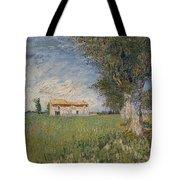 Farmhouse In A Wheat Field Tote Bag