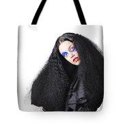 Fashion Model In Black Tote Bag