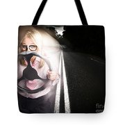 Fast Business Woman Driving Car With Light Trails Tote Bag