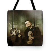 Father And Son In Gasmask. Nuclear Terror Attack Tote Bag