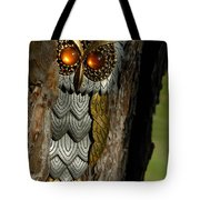 Faux Owl With Golden Eyes Tote Bag