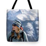 Female Backcountry Skier Skinning Tote Bag