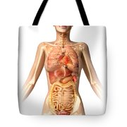 Female Body With Bone Skeleton Tote Bag