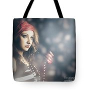 Female Fashion Model Holding Jewelry Necklace Tote Bag