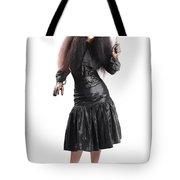 Female Jester Holding Lit Fire Torch Tote Bag