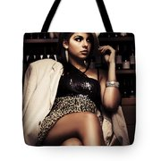 Female Mobster Seated At Dark Bar Tote Bag