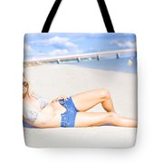 Female Vacationer Relaxing At Tropical Paradise Tote Bag