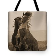 Fighting Wild Stallions Tote Bag