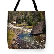 Fin On The Firehole Tote Bag