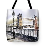 Fine Art Drawing The Tower Bridge In London Uk Tote Bag