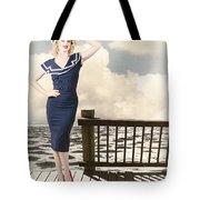 Fine Art Vintage Pin-up. Vacation Departure Dock Tote Bag