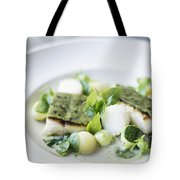 Fish Fillet With Herb Topping And Vegetables Tote Bag