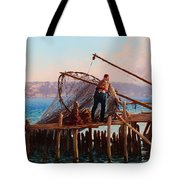 Fishermen Bringing In The Catch Tote Bag