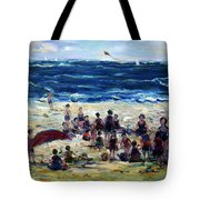 Flying A Kite At The Beach Tote Bag