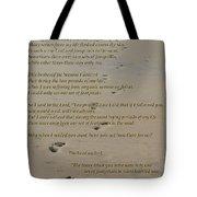 Footprints In The Sand Poem Tote Bag