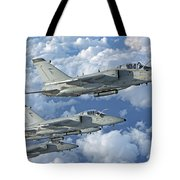 Formation Of Italian Air Force Amx-acol Tote Bag