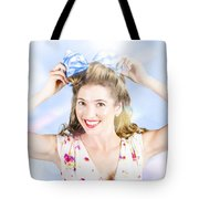 Friendly Female Pin-up Wearing Hair Accessories  Tote Bag