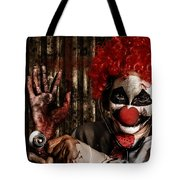 Frightening Clown Doctor Holding Amputated Hand  Tote Bag
