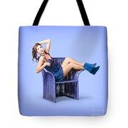 Full-length Portrait. Lovely Woman In Denim Dress Tote Bag