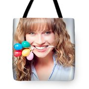 Fun Party Girl With Balloons In Mouth Tote Bag